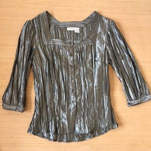 Harve Benard Button Down Crinkle Silver Top